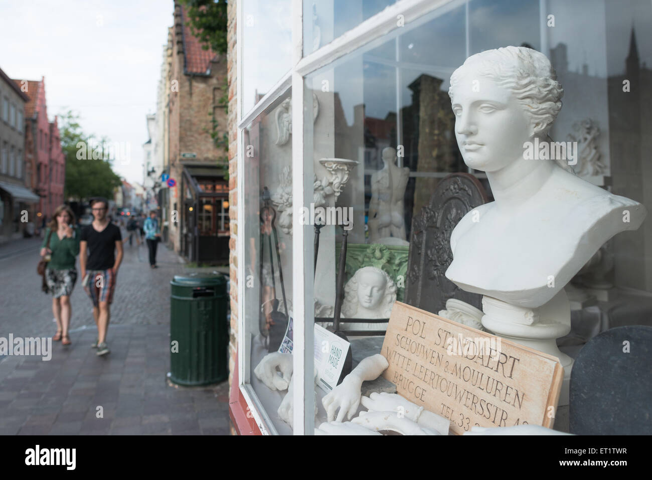 Bruges, Belgium, showcase of a shop for decorations - Stock Image
