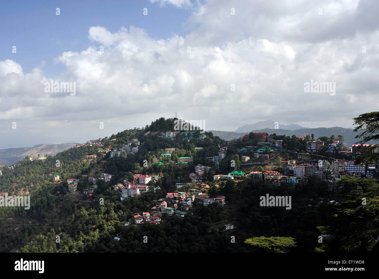 Aerial View of City in Shimla at Himachal Pradesh India Asia - Stock Image