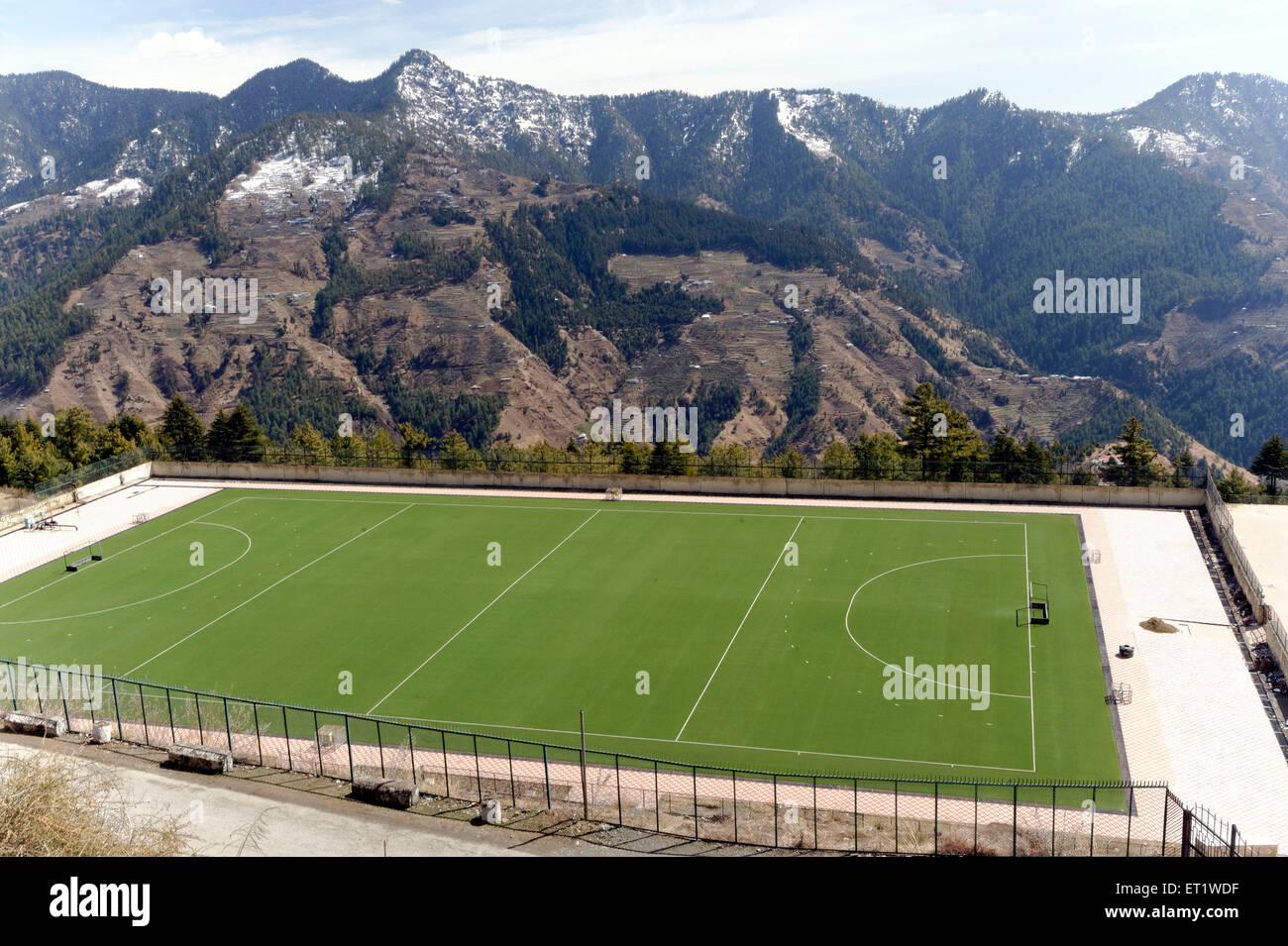 High Altitude Artificial Hockey Rajiv Gandhi Ground at Himachal Pradesh India  Asia - Stock Image