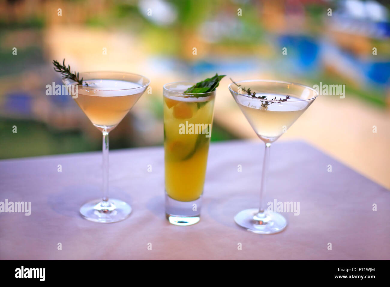 Gin based cool drinks in glass on dining table in hotel ; Bombay Mumbai ; Maharashtra ; India - Stock Image