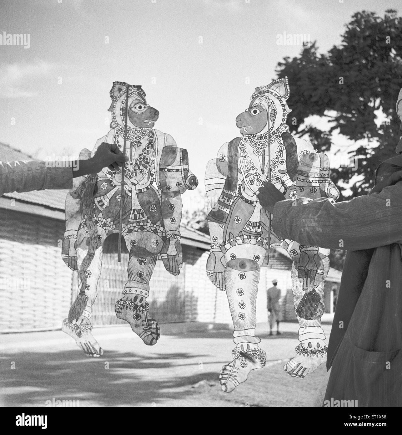 Men displaying transparent painted leather puppets ; Shadow puppet plays entertainment ; Hallare village ; Mysore - Stock Image