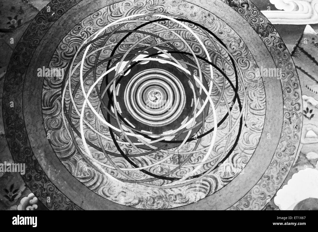An abstruse mandala ; an aid to understand Buddhist philosophy shot at the monastery in Paro ; Bhutan - Stock Image