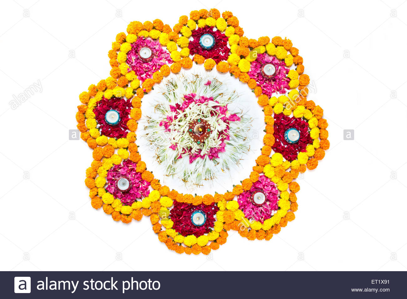 Decorative and traditional illuminated Diwali festival Lamps on ... for Flower Rangoli Vector  181pct