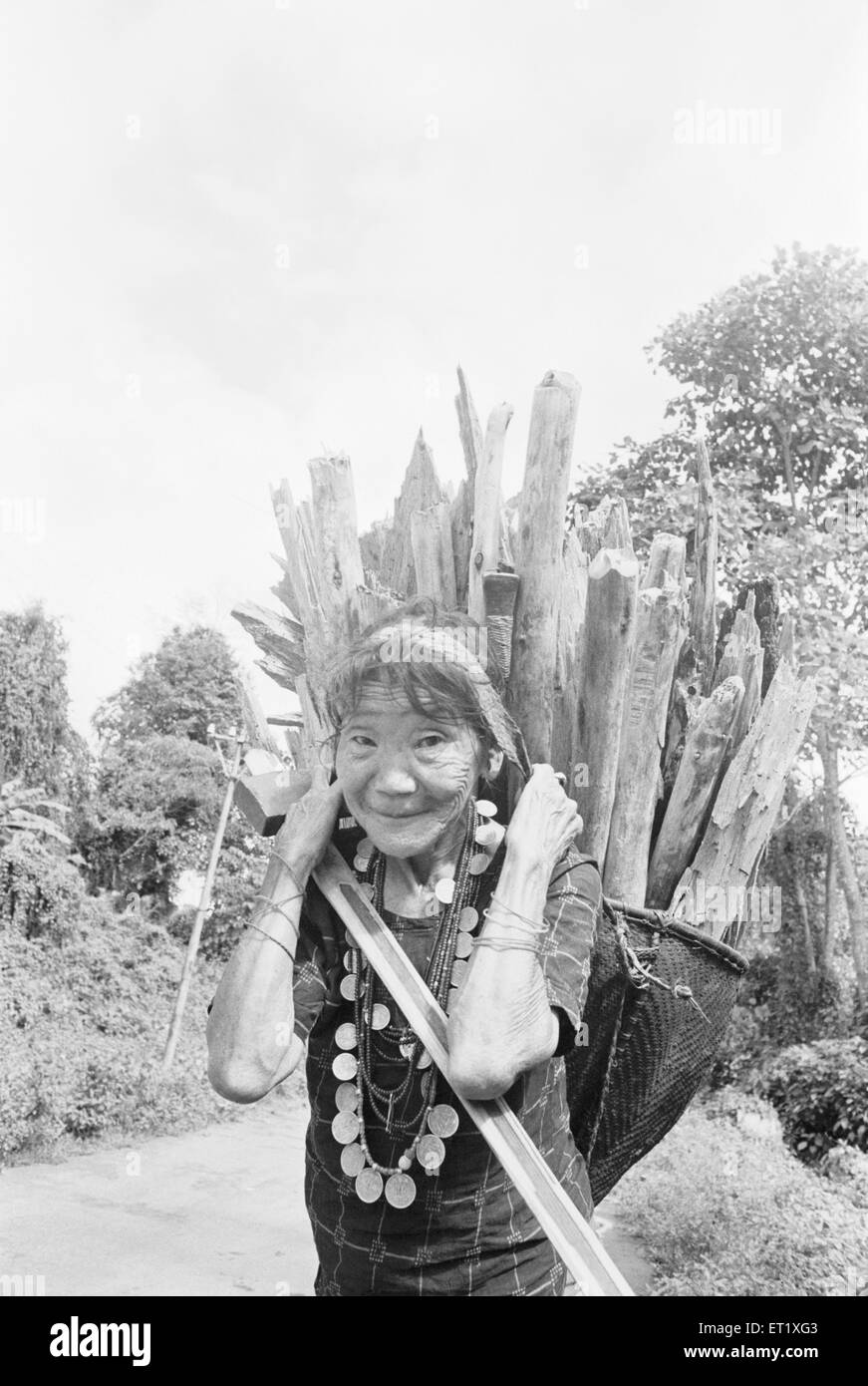 Old lady from Hill Miri tribe carrying wood on her back ; Arunachal Pradesh ; India 1982 NO MR - Stock Image