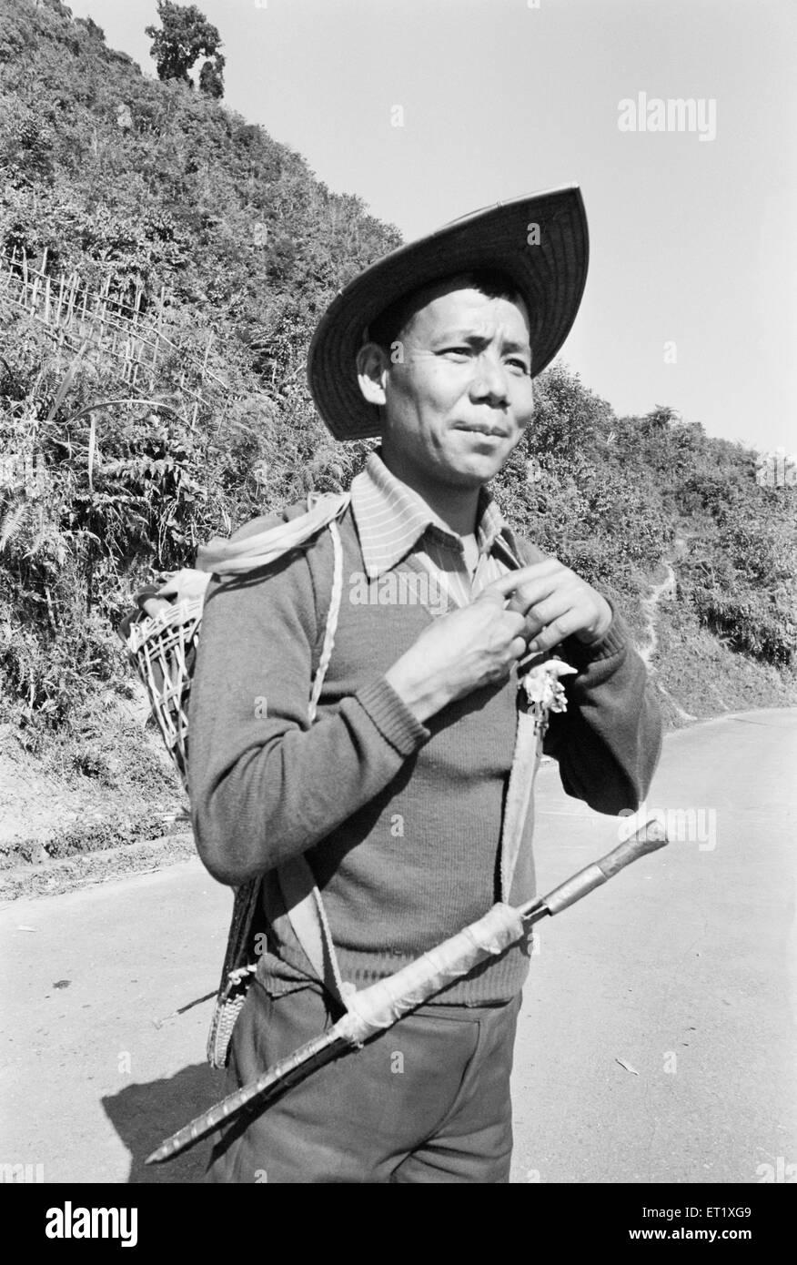 Member of Hill Miri tribe ; Arunachal Pradesh ; India 1982 NO MR - Stock Image