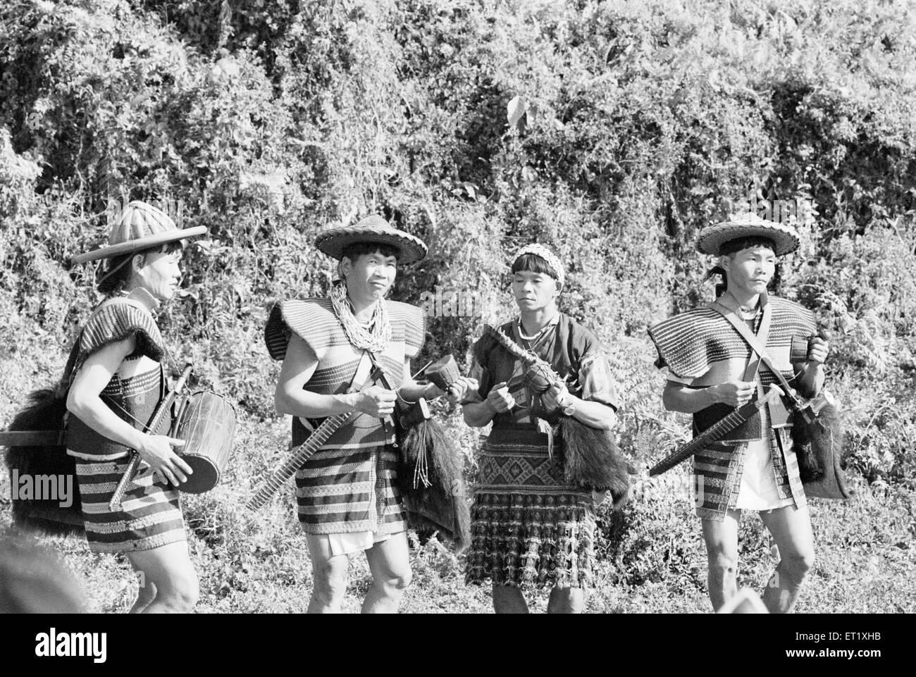 Hill Miri dancers in their traditional attire at Subansiri ; Arunachal Pradesh 1982 ; India - Stock Image