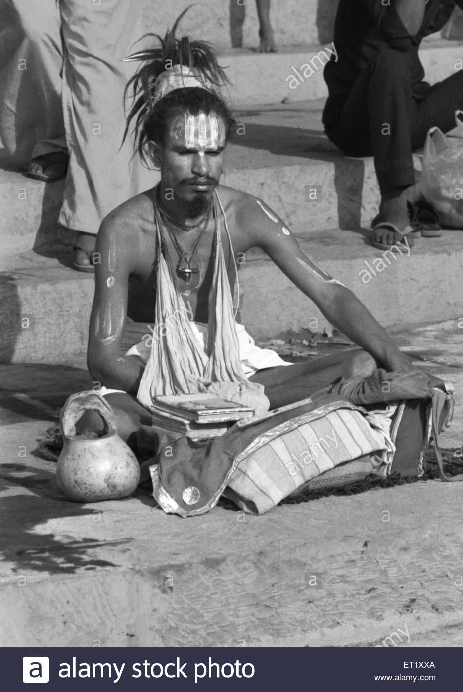 Sadhu meditating NO MR - Stock Image