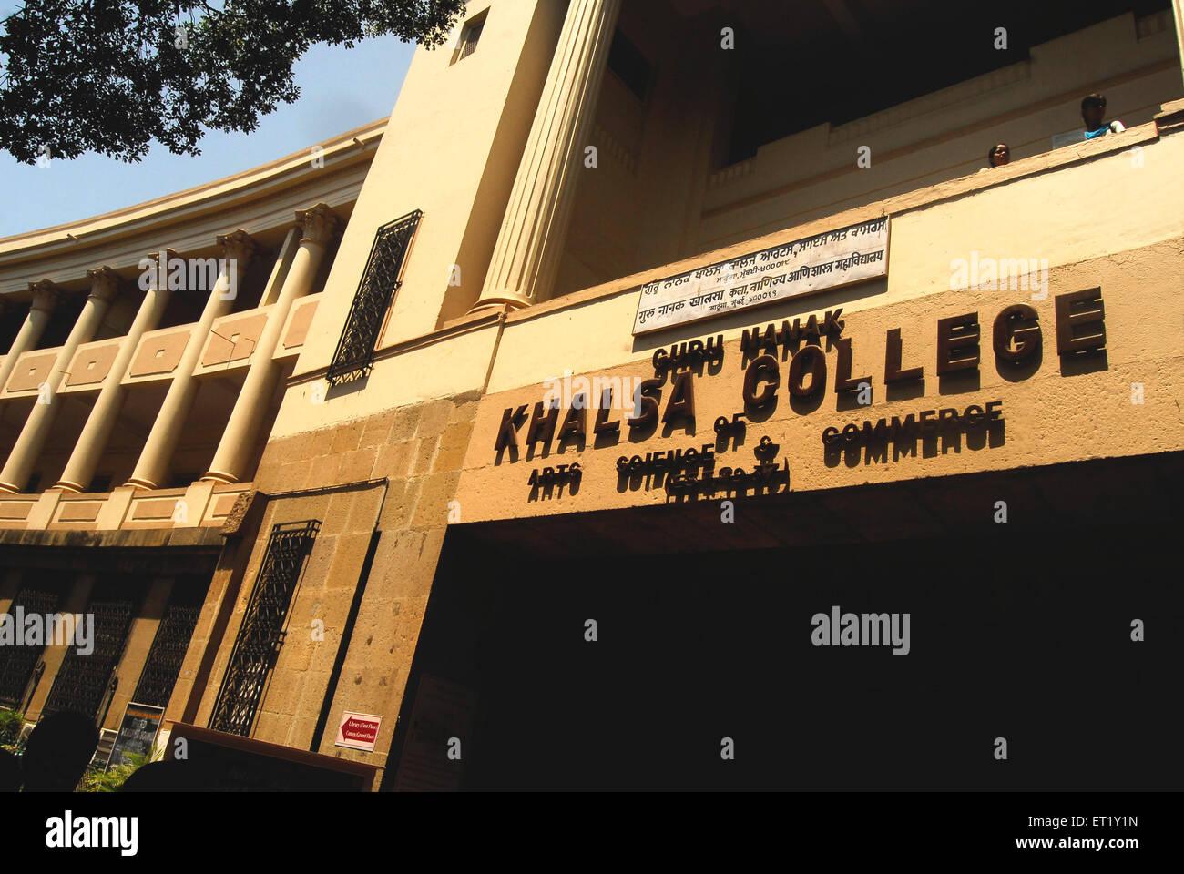 Guru Nanak Khalsa college ; Bombay Mumbai ; Maharashtra ; India - Stock Image