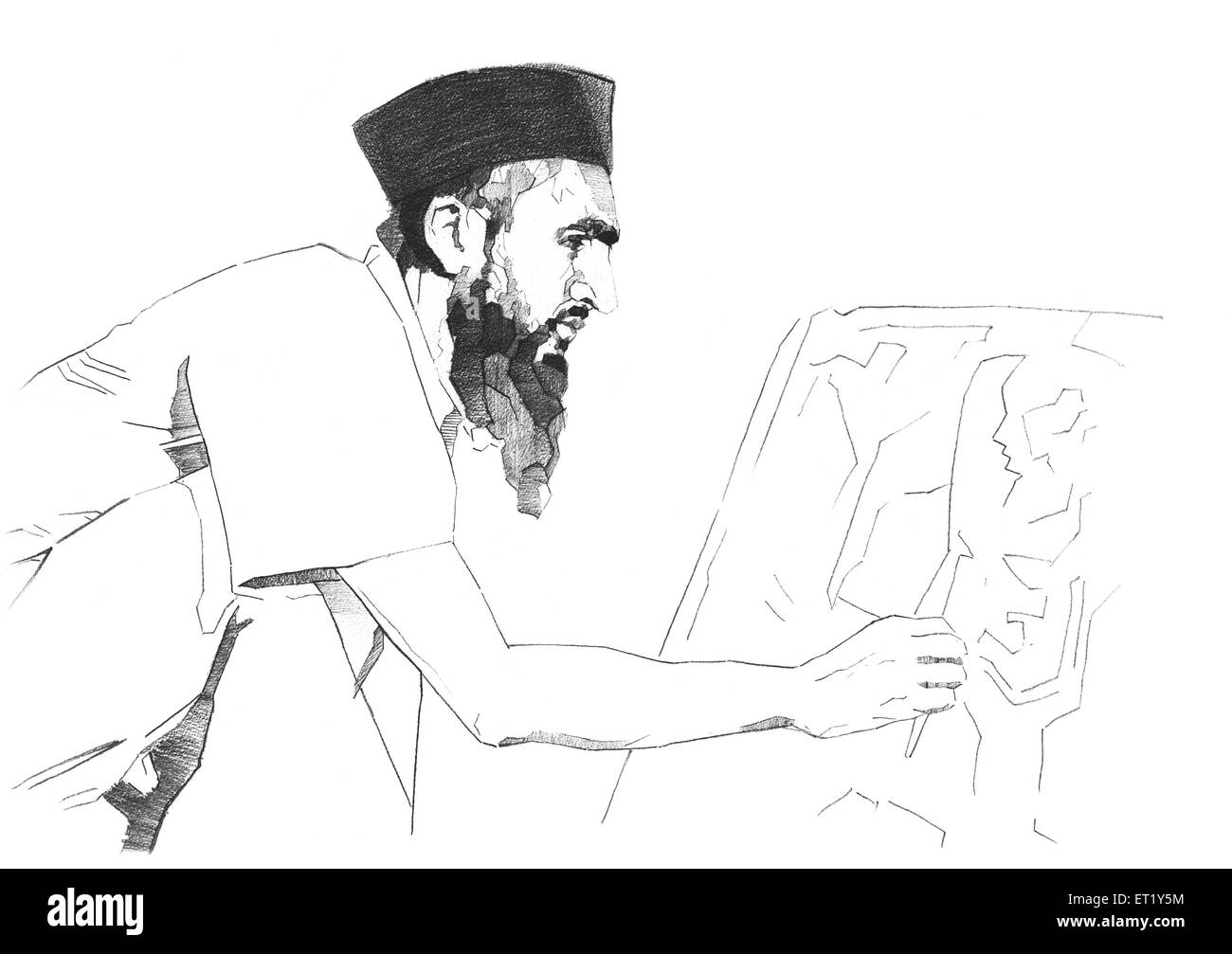 drawing of m f Hussain making sketch India Asia - Stock Image