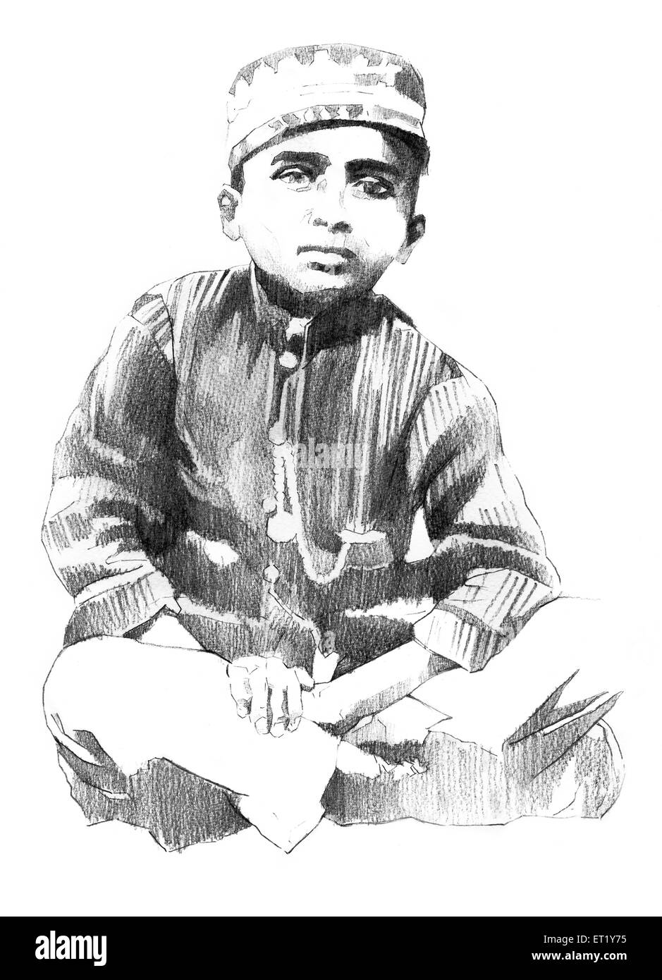 illustration of M F Hussain sketch India Asia - Stock Image