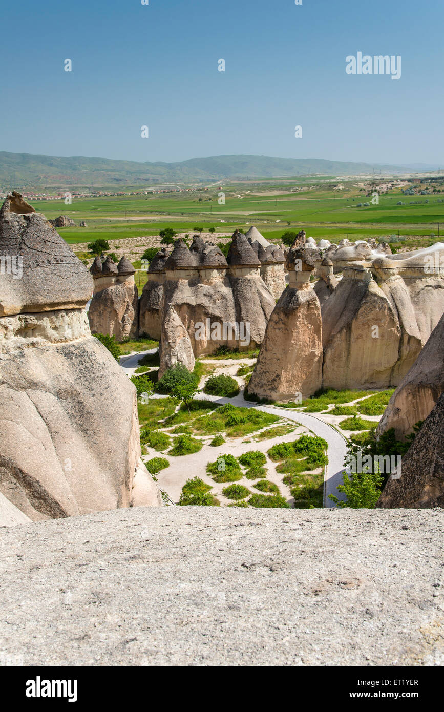 Typical fairy chimneys landscape in Pasabagi, Cappadocia, Turkey - Stock Image