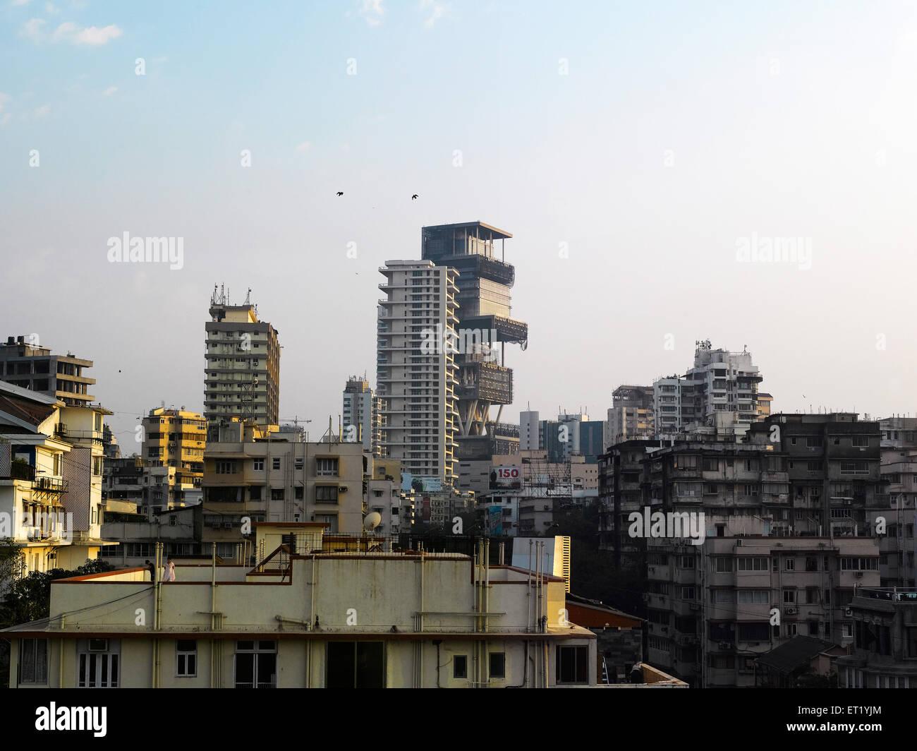 Antilla new house of mukesh ambani at altamount road Bombay Mumbai  ; Maharashtra  ; India NOPR - Stock Image