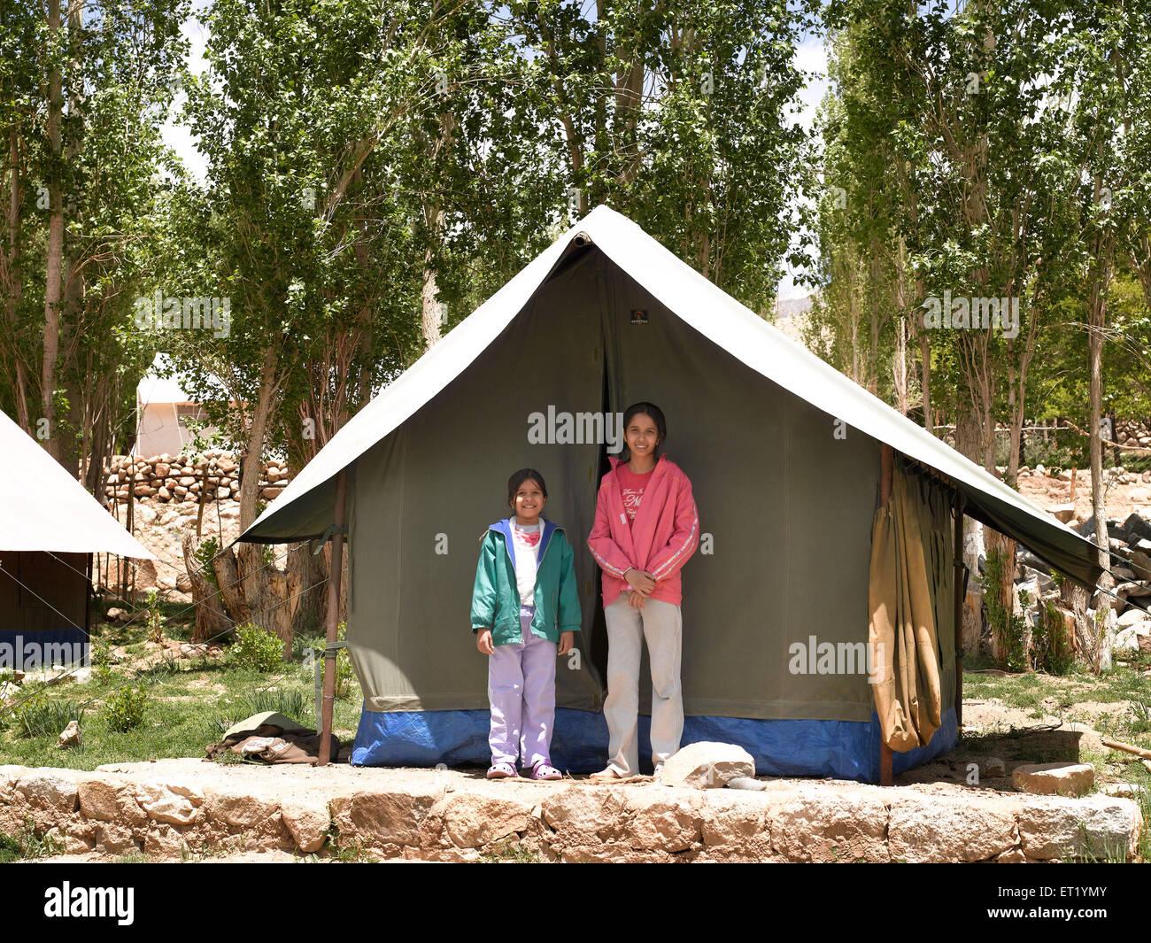 Girls Tented Campsite At Tingmosgang; Ladakh; Kashmir; India; Asia MR#477 - Stock Image