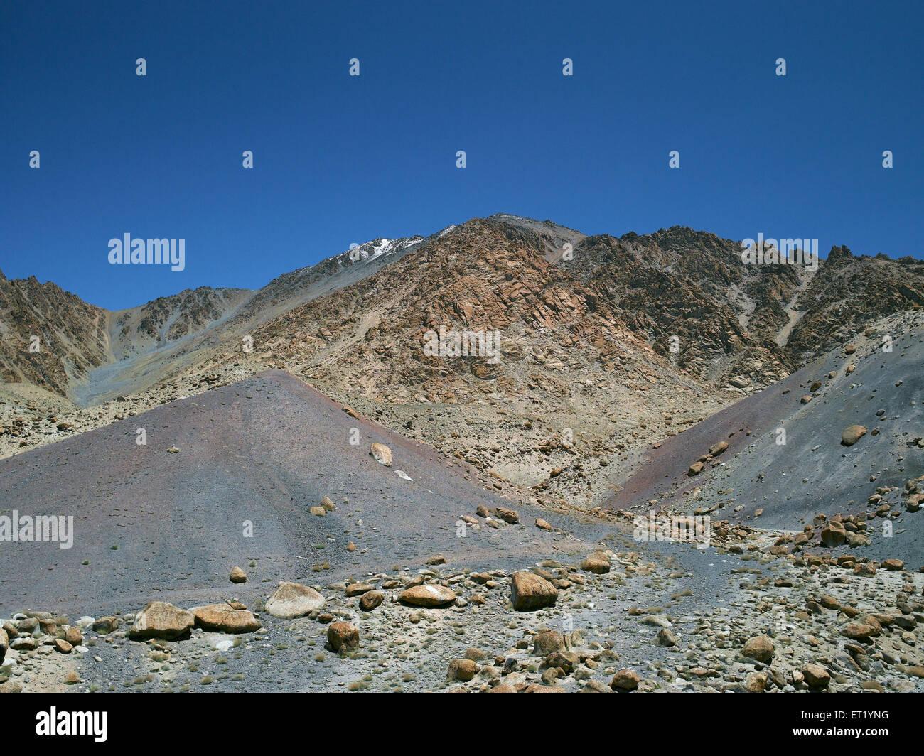 Hillside ; Tingmosgang ; Ladakh ; Jammu And Kashmir ; India ; Asia - Stock Image