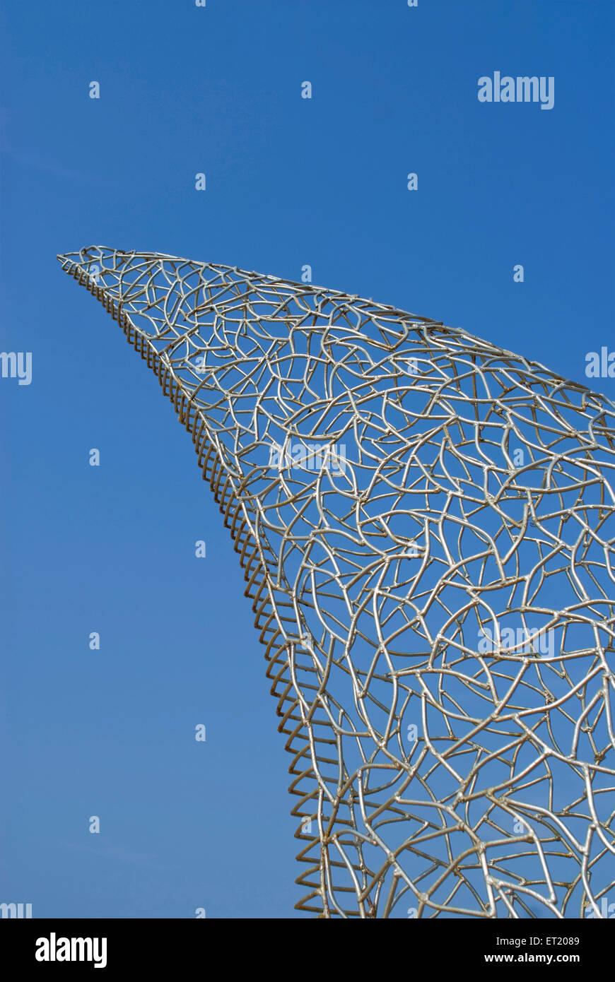 Iron mesh grill structure of shark fin at Calangute beach ; Goa ; India - Stock Image