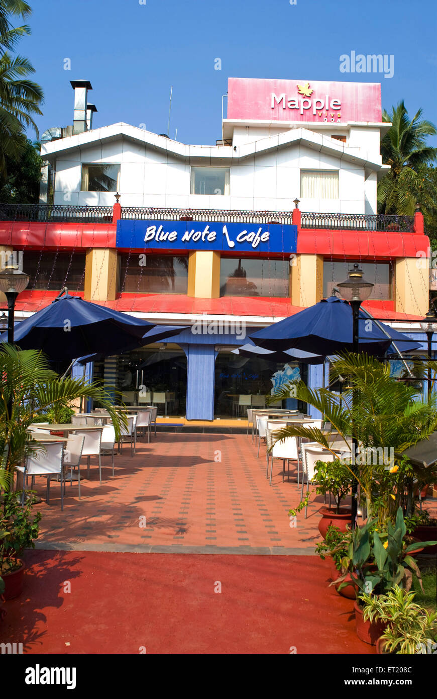 Blue note caf' ; Calangute beach ; Goa ; India - Stock Image