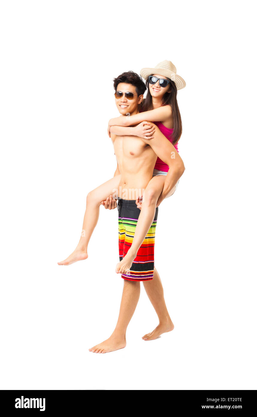 happy young couple enjoy summer vacation - Stock Image
