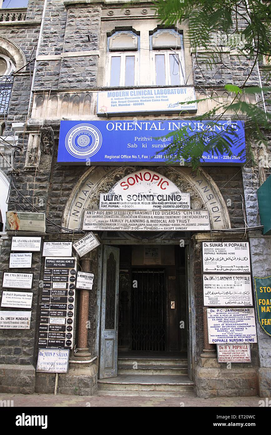 Anti aids and sexually transmitted diseases centre in Indian Mercantile Mansion building Street Fort ; S P Mukherjee - Stock Image