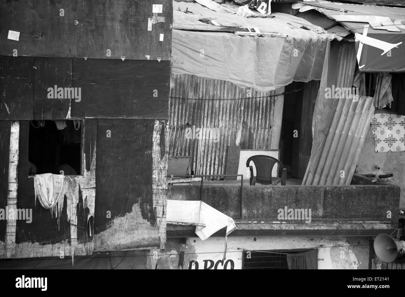 Slum Behram Naupada at Anant Kanekar Marg ; Bandra ; Bombay Mumbai ; Maharashtra ; India 17 September 2009 - Stock Image