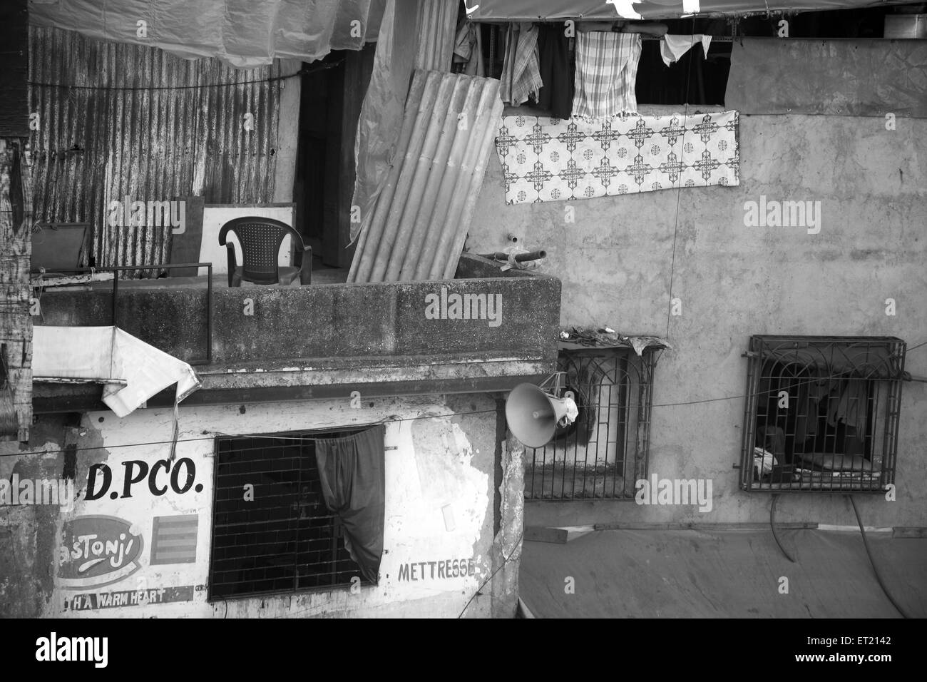 Slum Behram Naupada at Anant Kanekar Marg ; Bandra ; Bombay Mumbai ; Maharashtra ; India 17 September 2009 Stock Photo