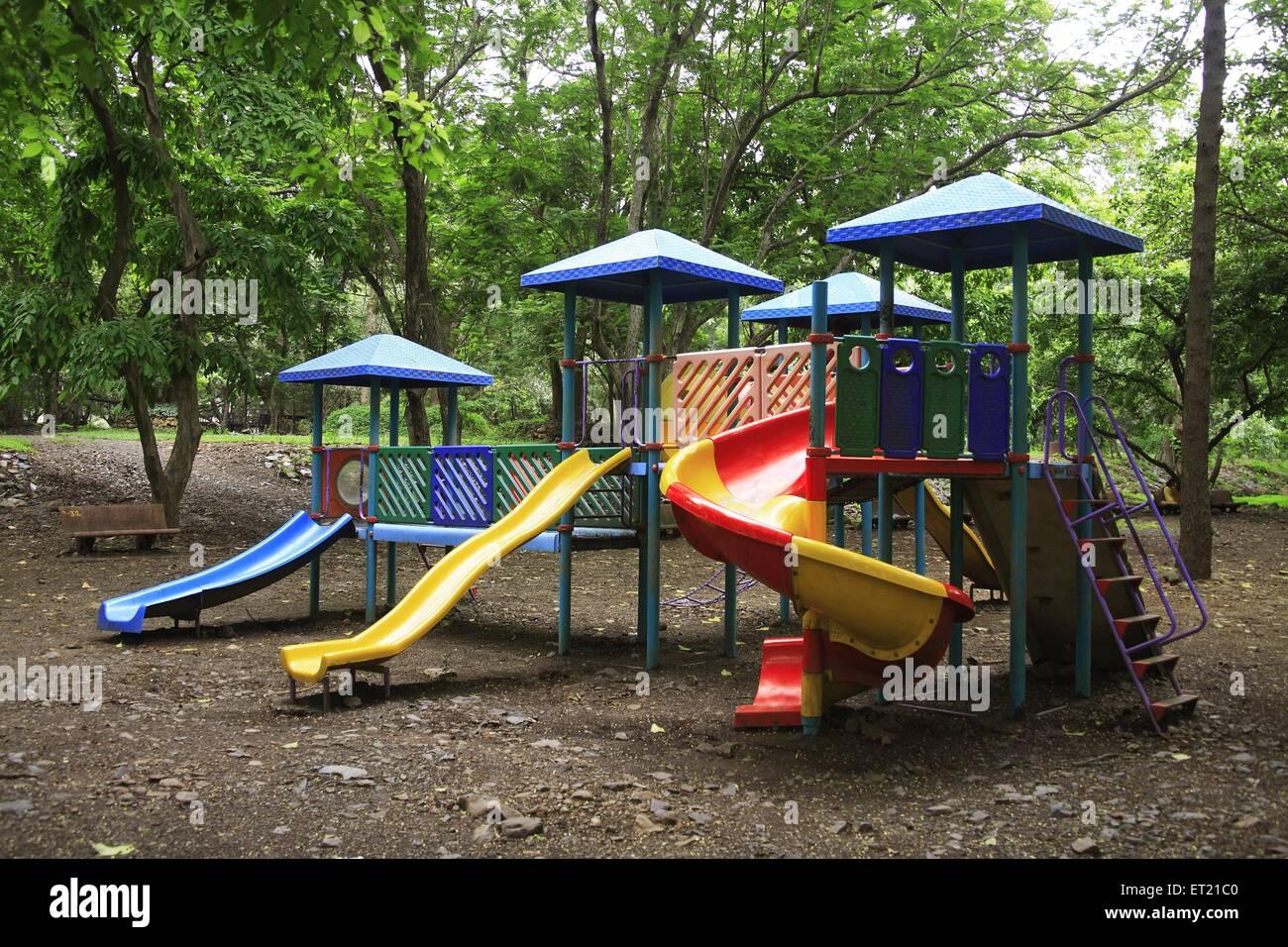 Slide in sanjay gandhi national park ; Borivali ; Bombay Mumbai ; Maharashtra ; India 29 July 2009 - Stock Image