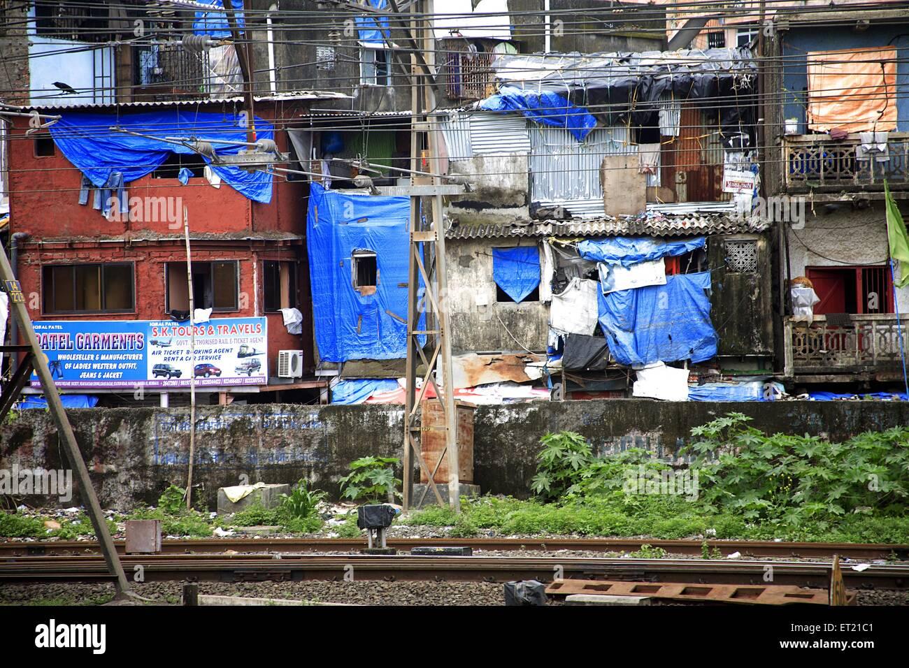 Slum ; Behram Naupada ;  Anant Kanekar Marg ;  Bandra ; Bombay Mumbai ; Maharashtra ; India 24 August 2009 - Stock Image