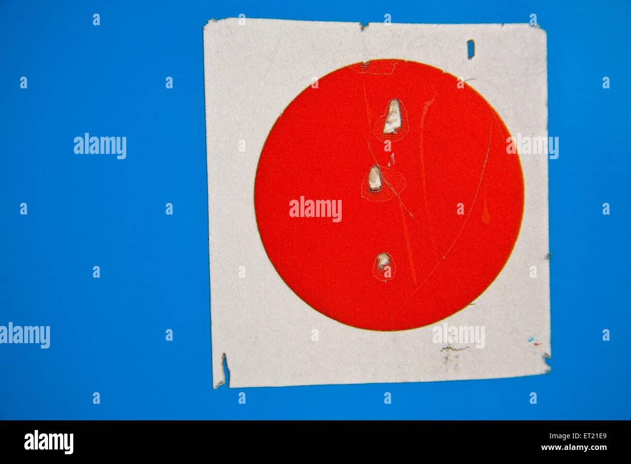 White square red round blue background ; Bombay Mumbai ; Maharashtra ; India 18 February 2010 - Stock Image