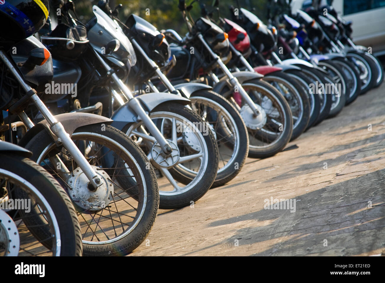 Bike motorcycles parking ; Bombay Mumbai ; Maharashtra ; India 29 January 2010 - Stock Image