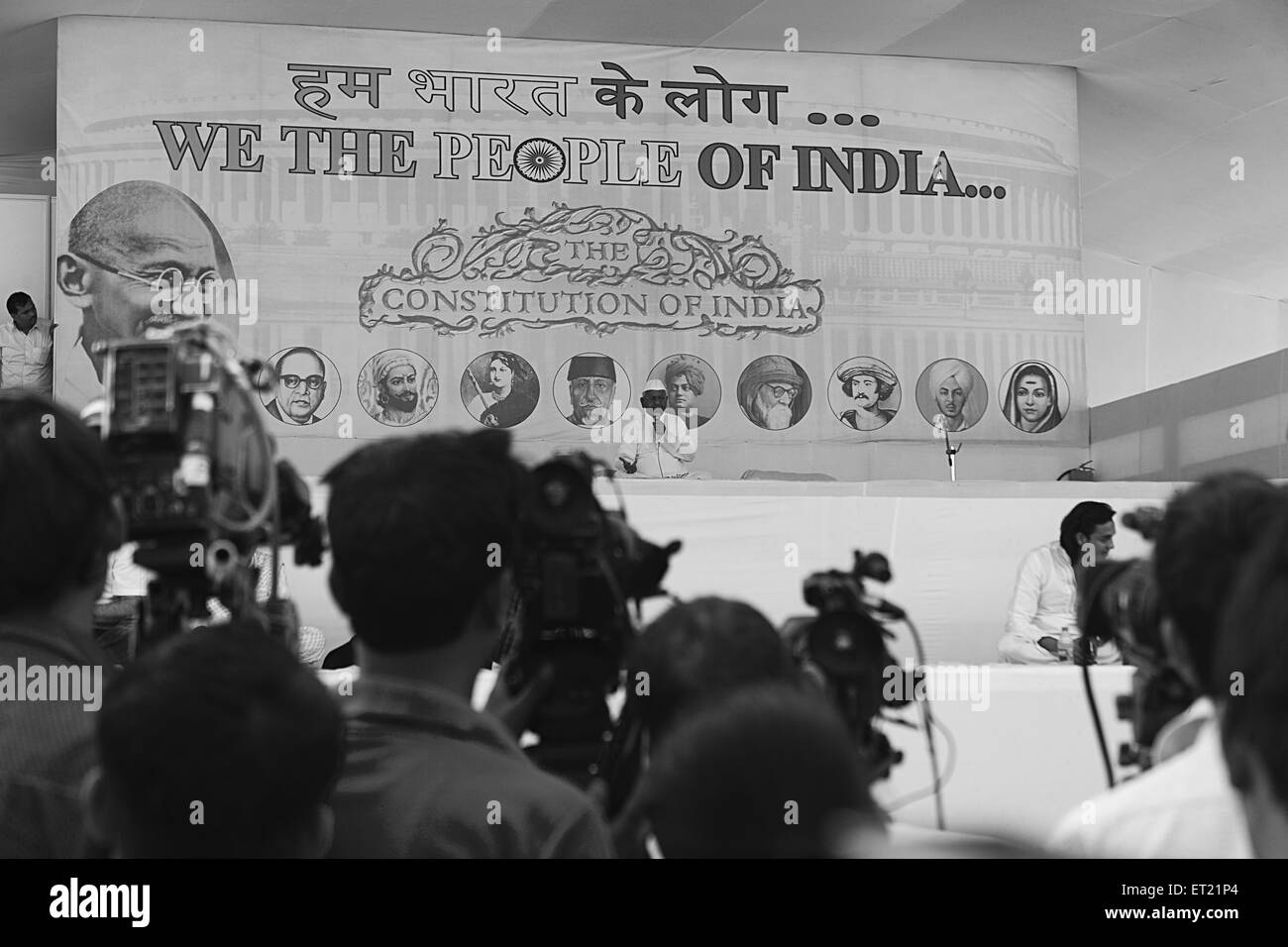 Video Camera Coverage Anna Hazare Mumbai Maharashtra India Asia Dec 2011 - Stock Image