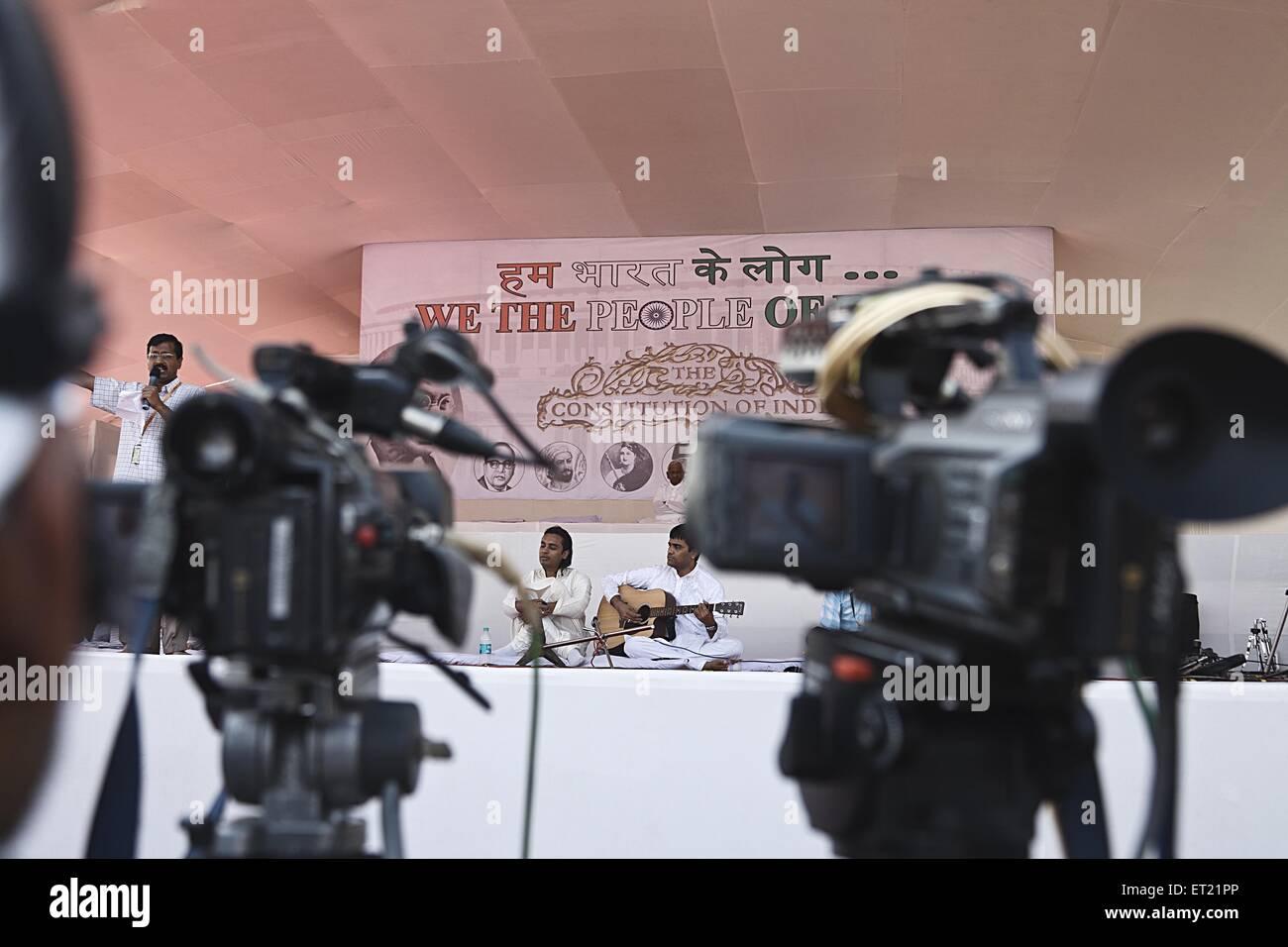 Video Camera Coverage Arvind Kejriwal Speech Mumbai Maharashtra India Asia Dec 2011 - Stock Image