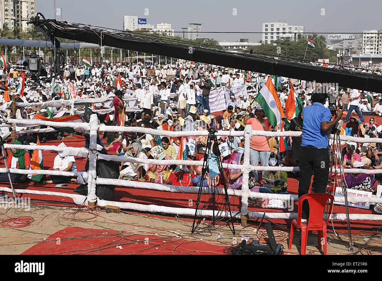Video Camera Mounted on Crane Coverage Crowd Mumbai Maharashtra India Asia Dec 2011 - Stock Image