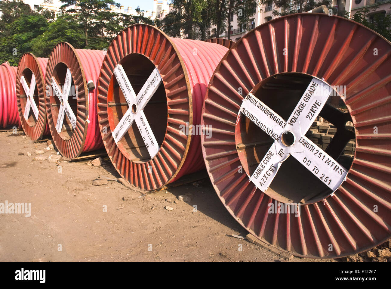 Cable drums power cables Pune Maharashtra India - Stock Image