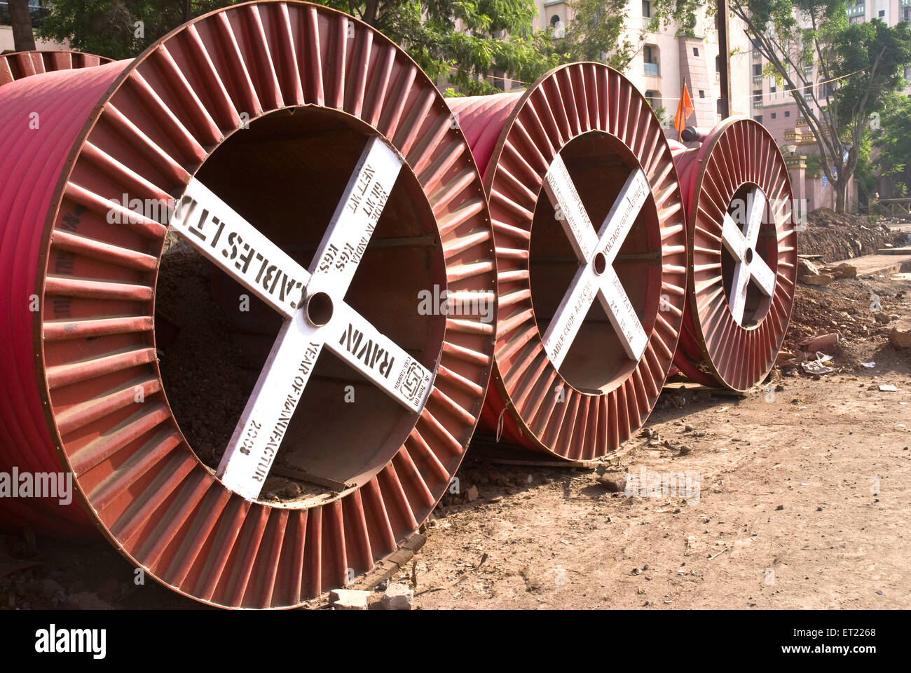 Cable drums power cables ; Pune ; Maharashtra ; India 2008 - Stock Image