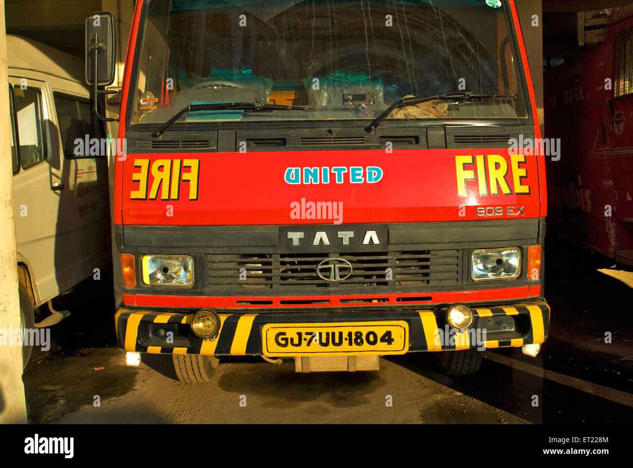 Fire truck near Anand ; Gujarat ; India - Stock Image