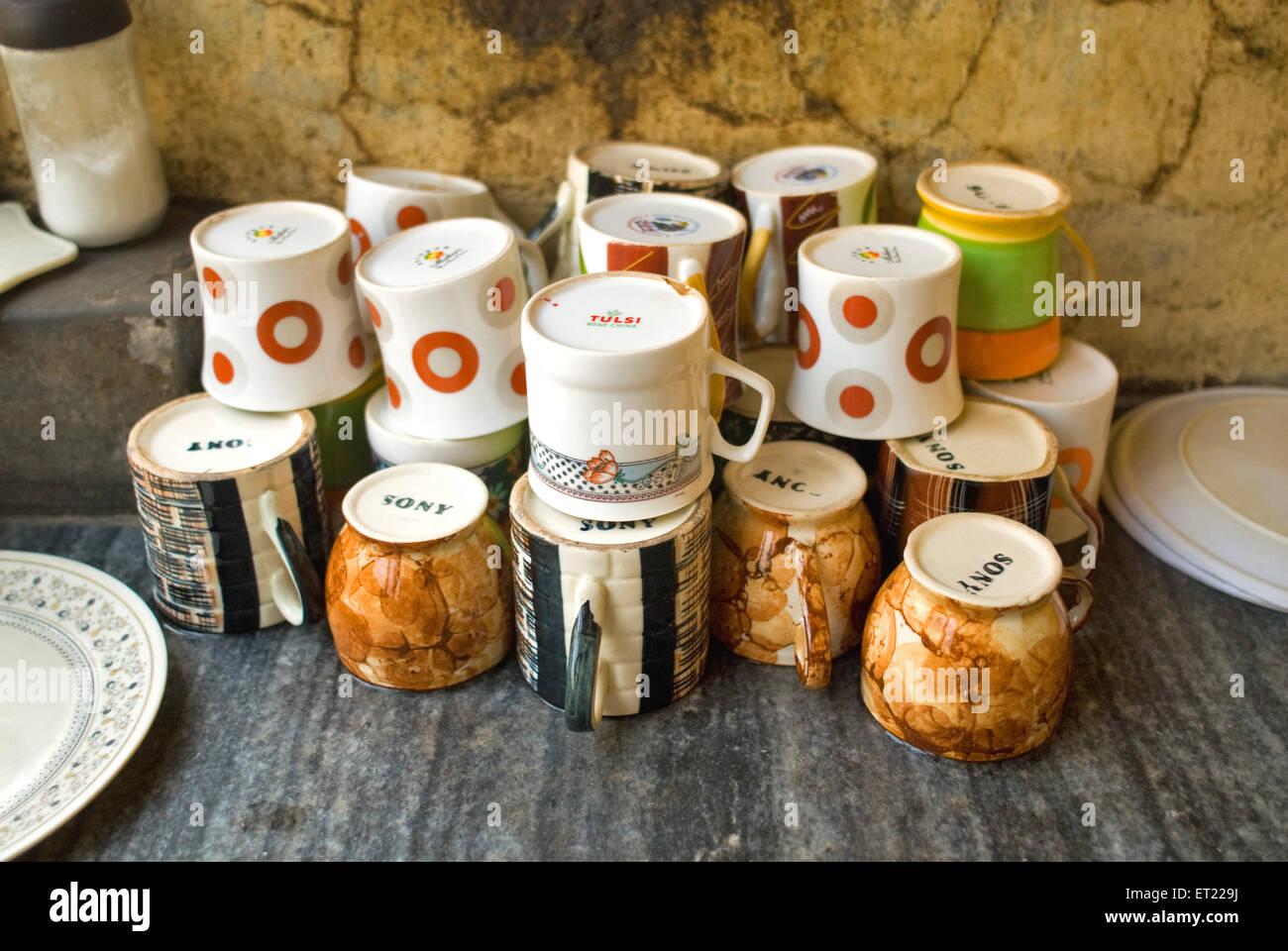 Tea Cups at Bhowanipur ; Calcutta Kolkata ; West Bengal ; India - Stock Image