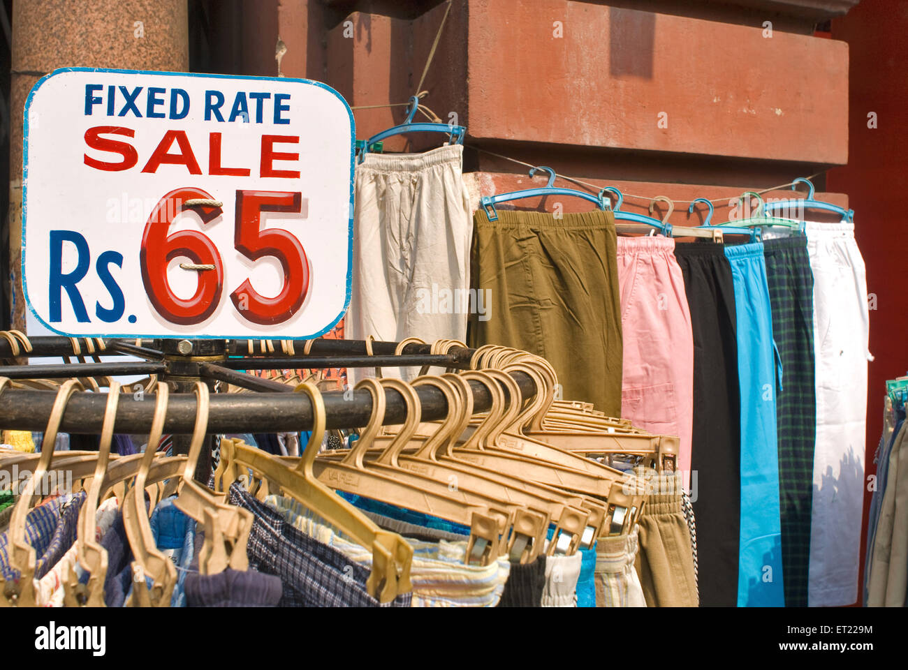 Fixed rate tag on cloth for sale at Calcutta Kolkata ; West Bengal ; India - Stock Image