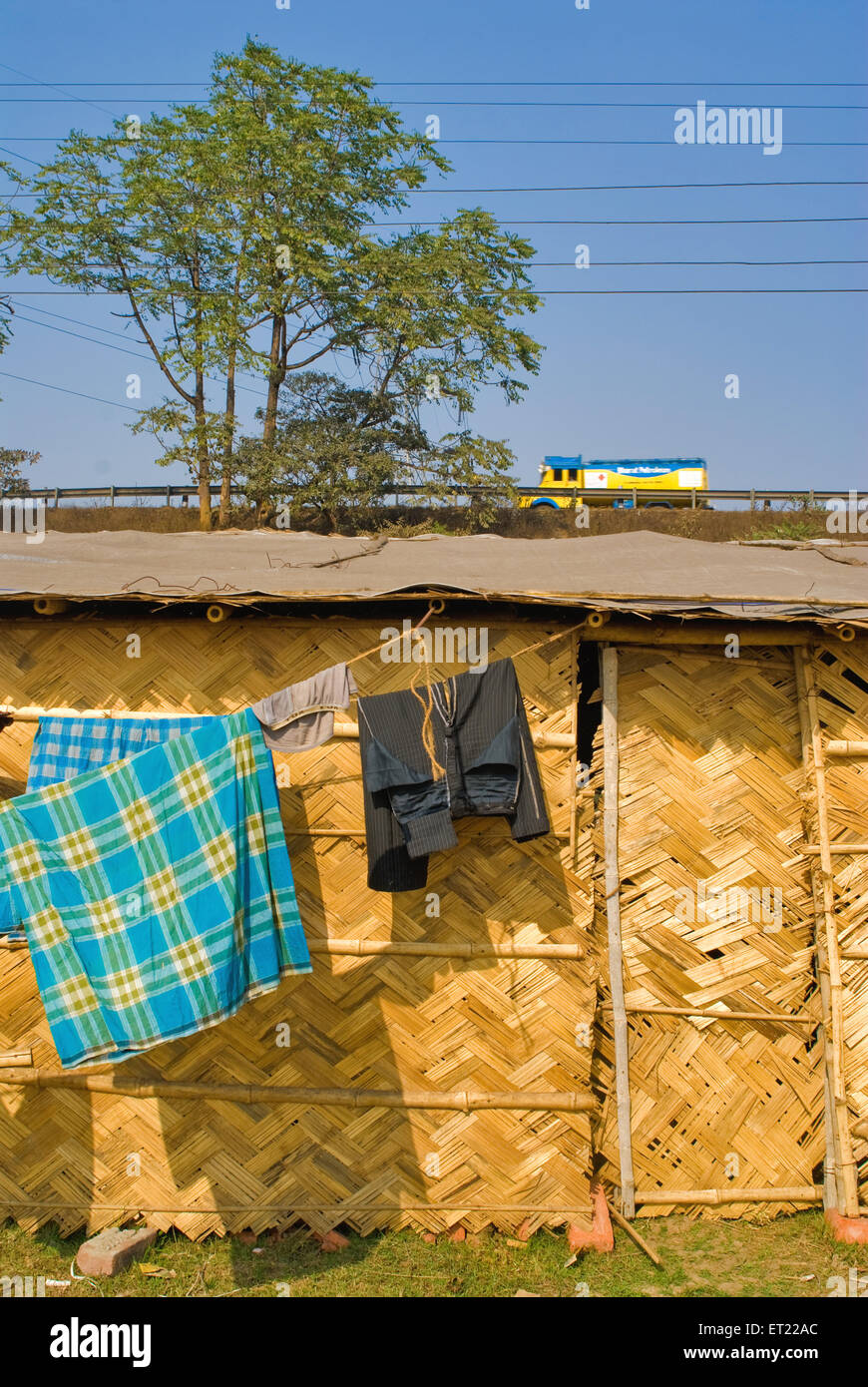 Clothes drying outside of temporary house made by cane at Asansol ; West Bengal ; India - Stock Image