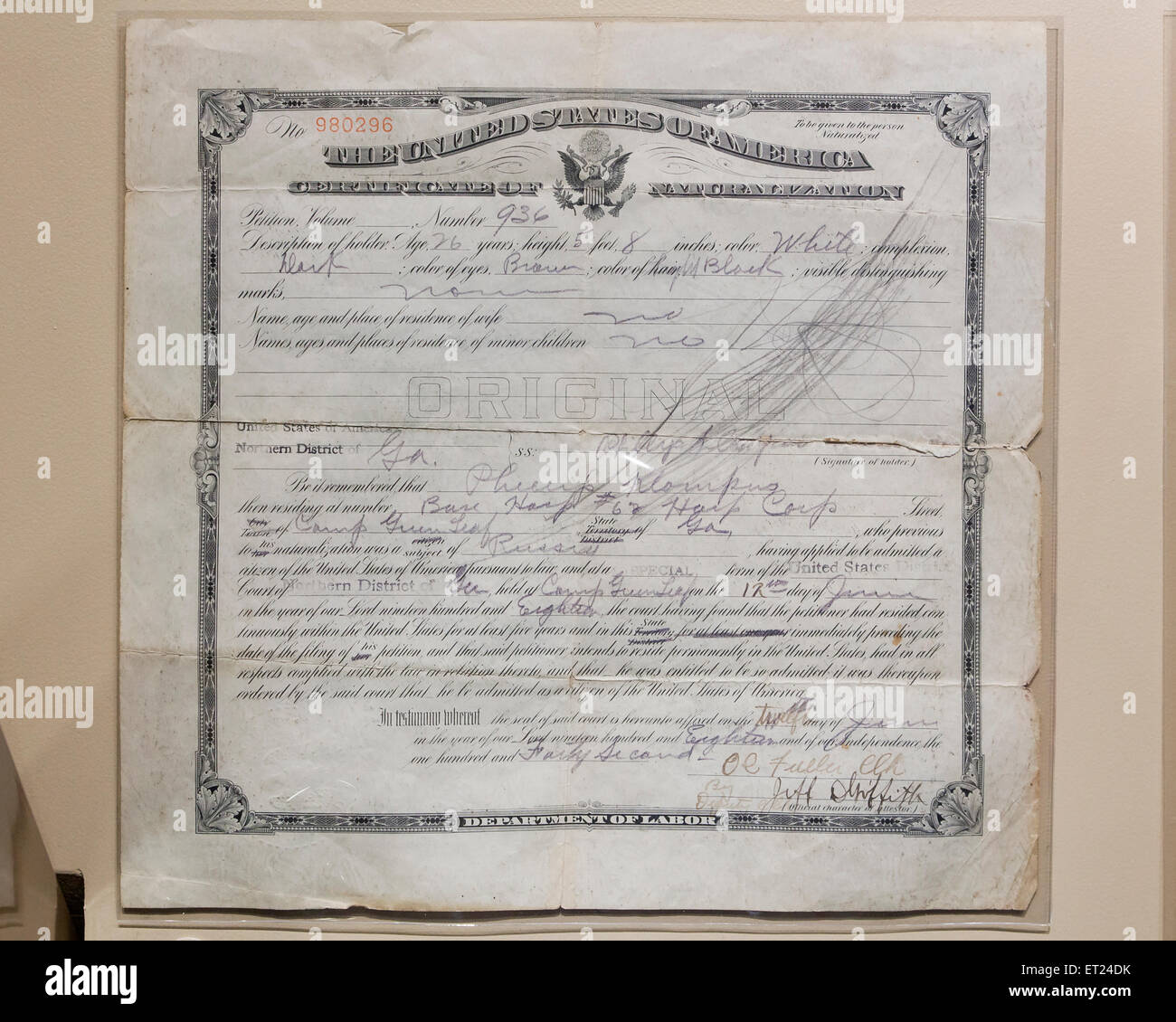 Vintage Certificate of Naturalization, circa 1930s - USA - Stock Image