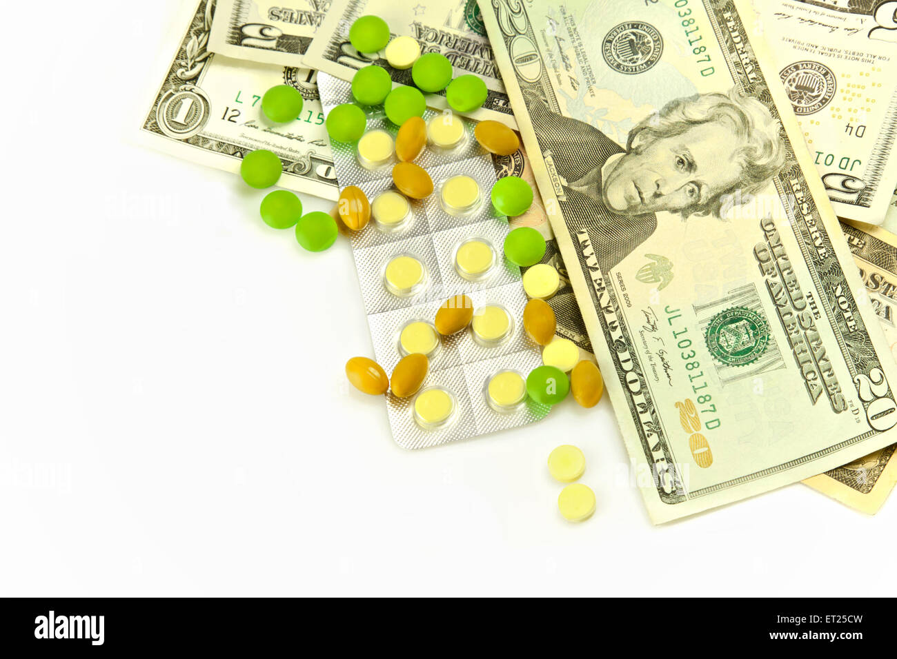Health care, pills and financially medical expensive - Stock Image