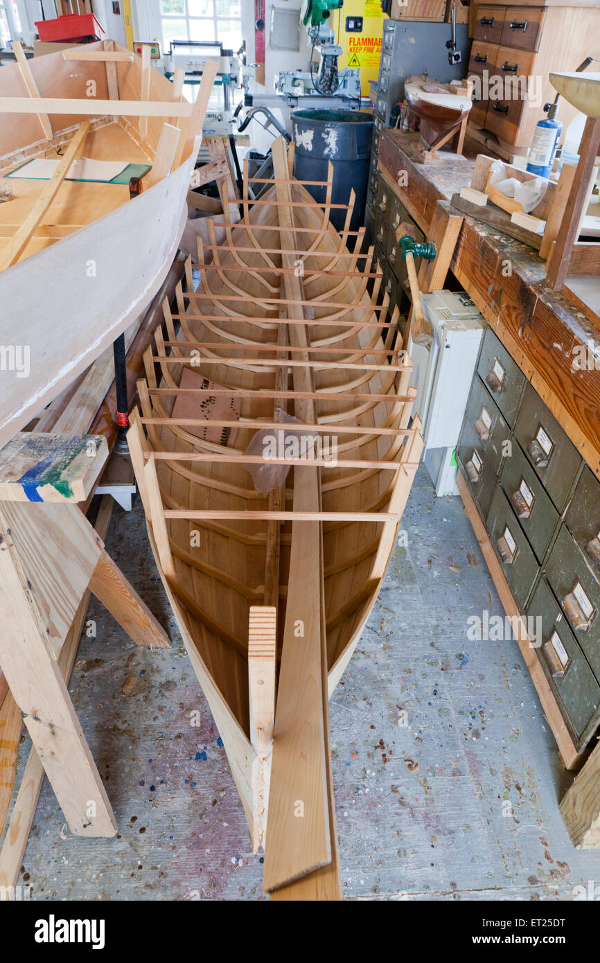 Wooden canoe being built - USA - Stock Image