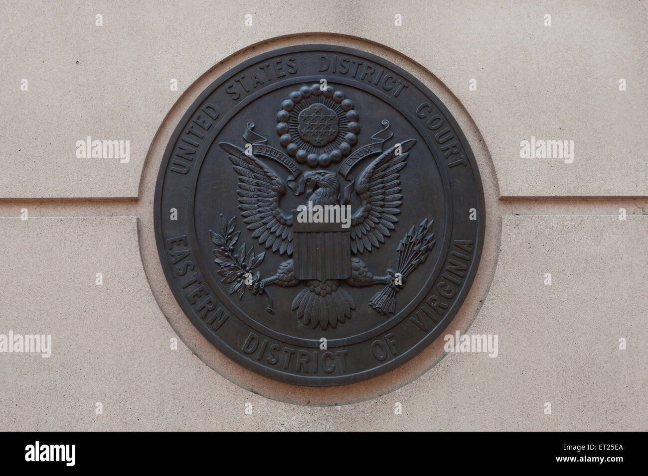 The Great Seal of the United States at the US District Court Eastern District of Virginia - Alexandria, Virginia - Stock Image
