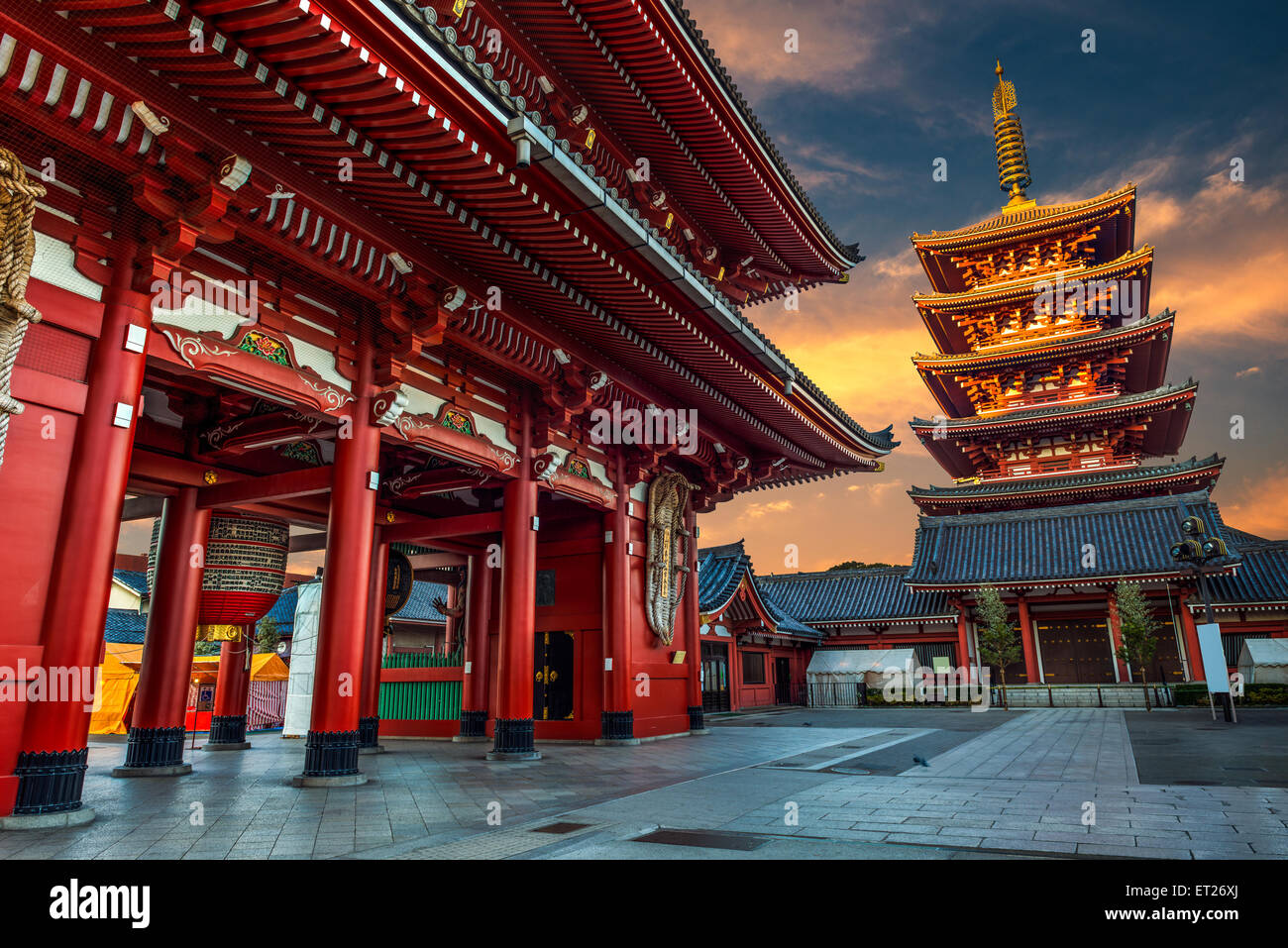 Sensoji Temple at dawn of the New Year. Sensoji Temple is the oldest temple in Tokyo, and one of its most famous - Stock Image