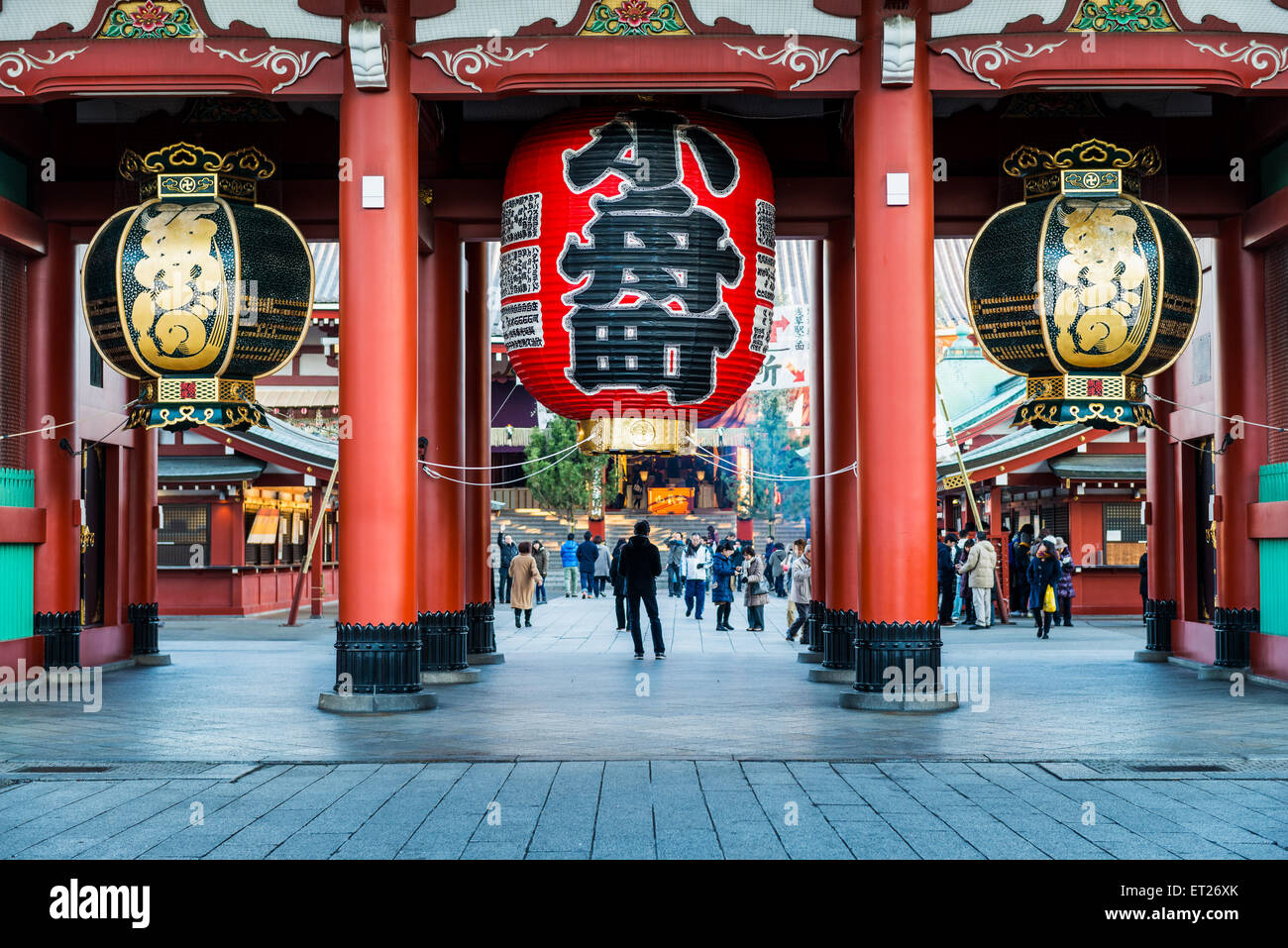 The Hozomon gate of Sensoji Temple in Tokyo, Japan, during New Year celebrations. The temple is the oldest in Tokyo - Stock Image