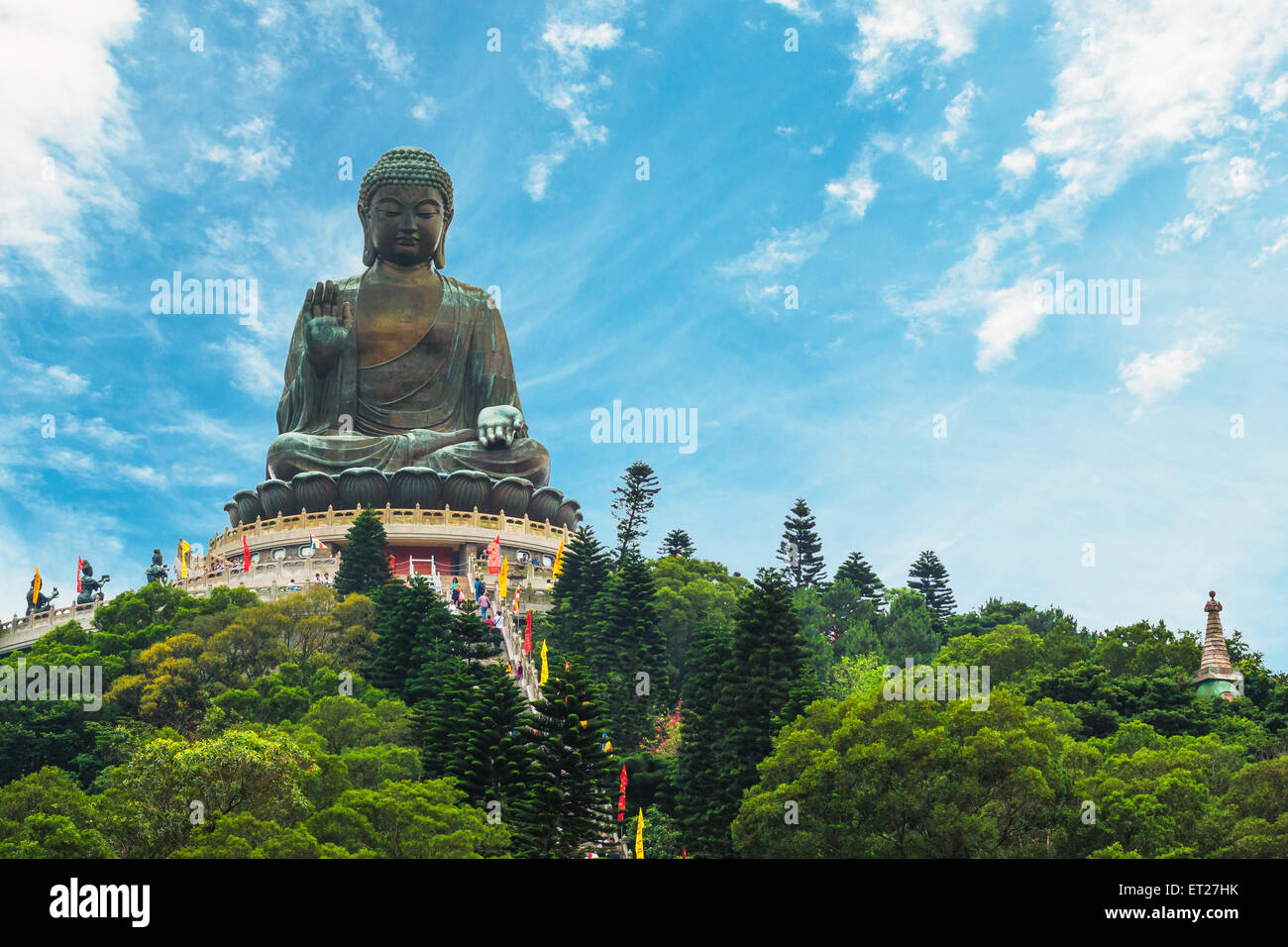 The enormous Tian Tan Buddha at Po Lin Monastery in Hong Kong. - Stock Image