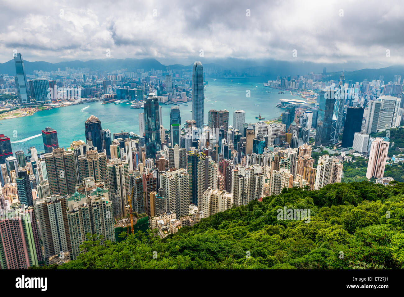The view of Hong Kong from Victoria Peak. Stock Photo