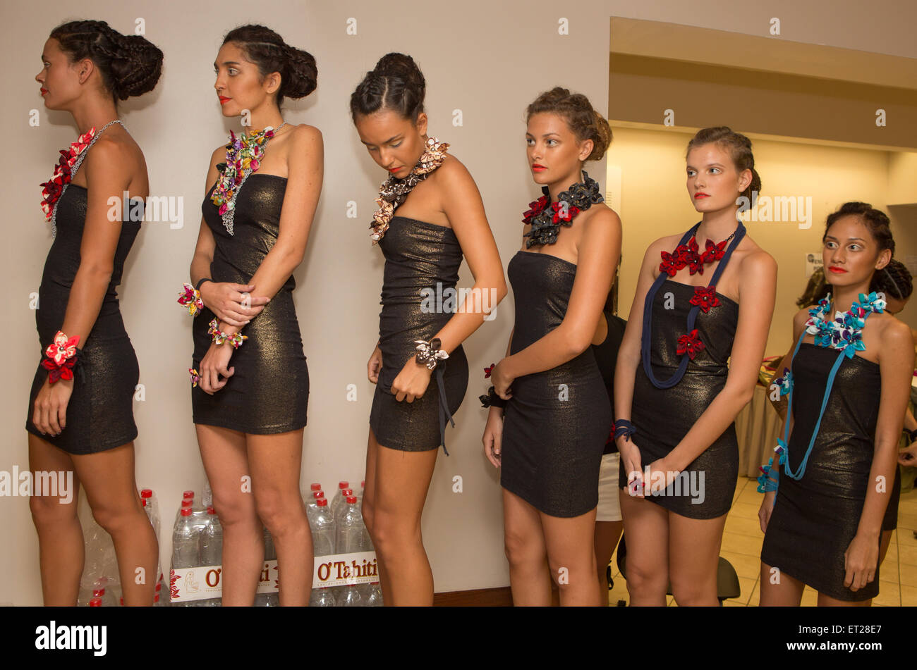 Papeete, French Polynesia. 10th June, 2015. Models backstage waiting to hit the catwalk for the first day of Tahiti - Stock Image