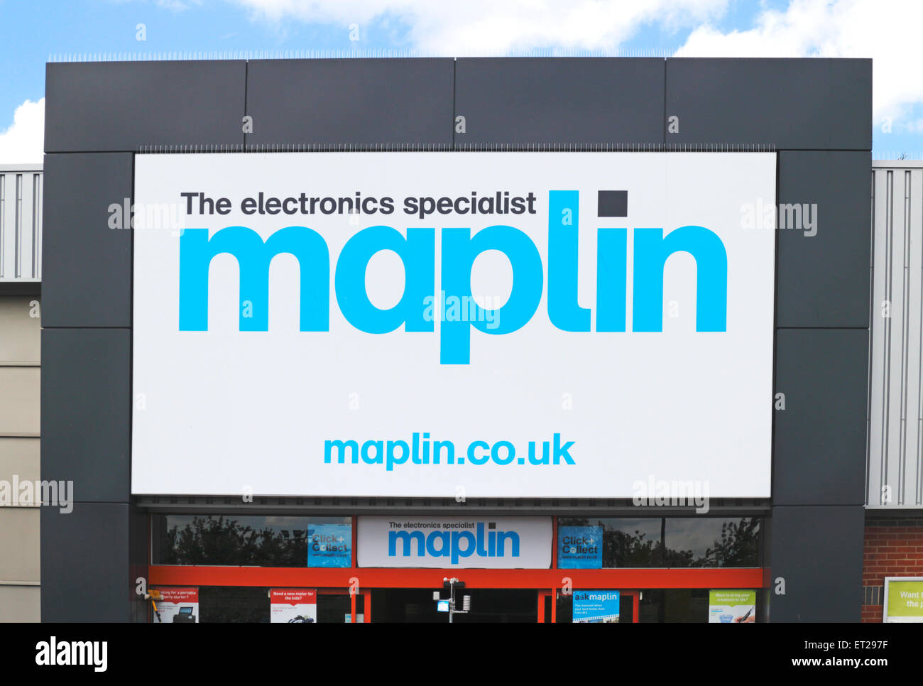 Shop sign for Maplin at Sweet Briar Retail Park, Norwich, Norfolk, England, United Kingdom. - Stock Image