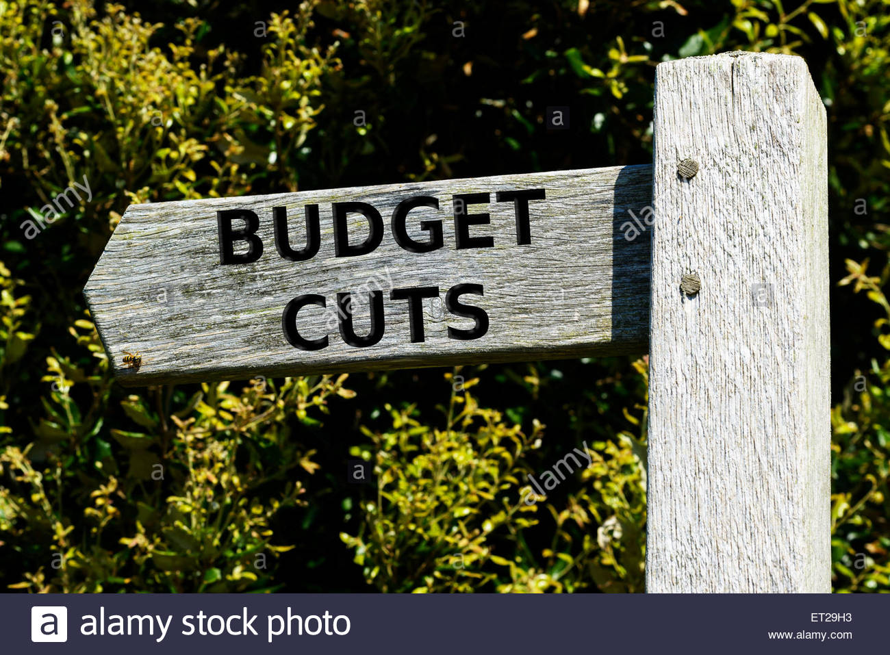Signposting the debate on Budget Cuts, England UK - Stock Image