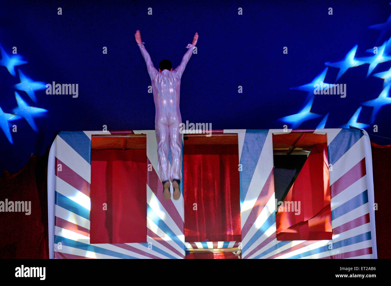 Acrobatics show.It's the performance of extraordinary feats of balance, agility, and motor coordination - Stock Image