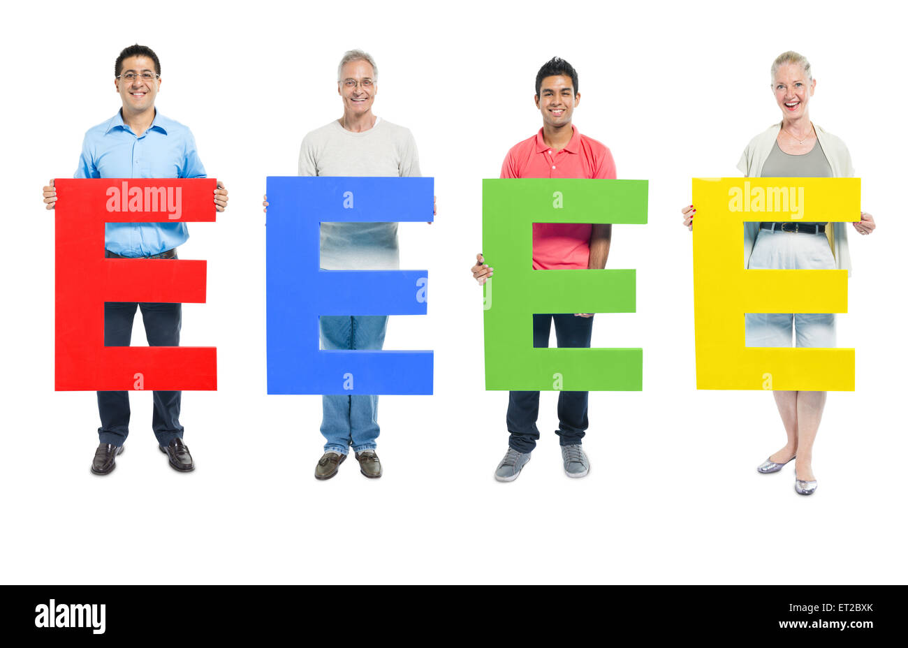 Group of Business people holding the letter 'E' - Stock Image